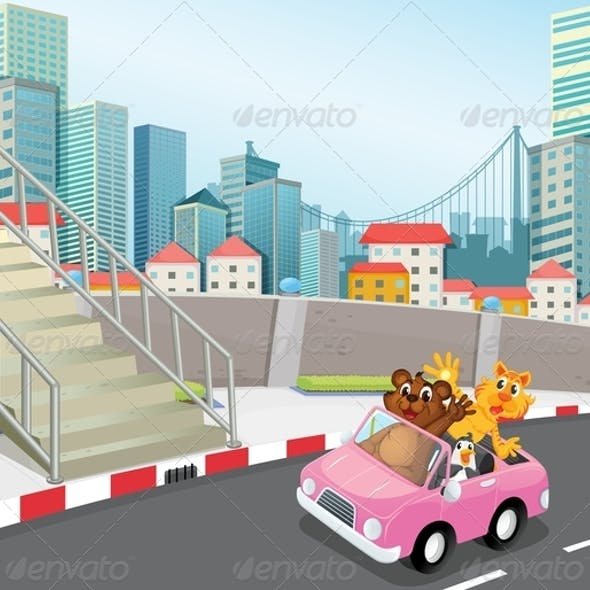A Pink Vehicle with Animals in a City