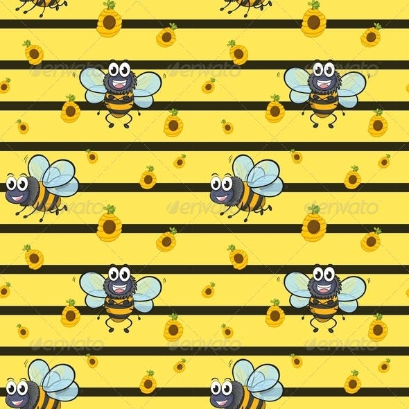 Seamless Design with Smiling Bees