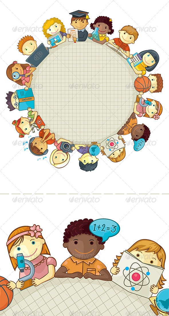 School Template With Children - People Characters
