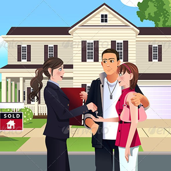 Real Estate in front of House