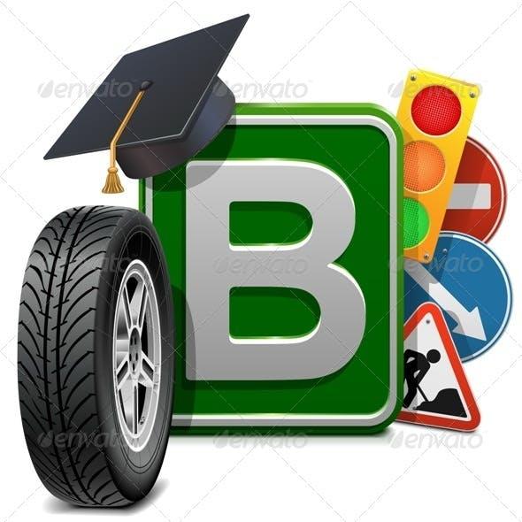 Vector Driving School Concept