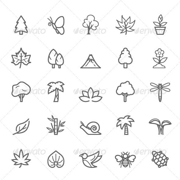 25 Outline Stroke Natural Icons