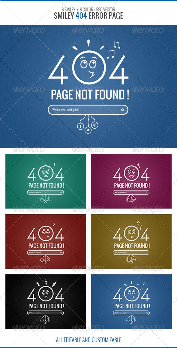 Smiley 404 Error Page - 404 Pages Web Elements