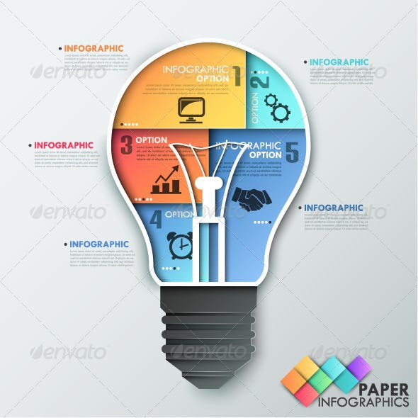 Paper Infographic Template With Light Bulb
