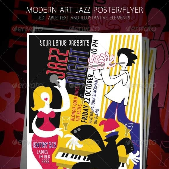 Jazz Night Music Concert Modern Art Design