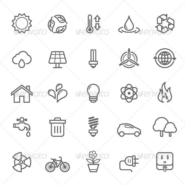 25 Outline Stroke Ecology Icons