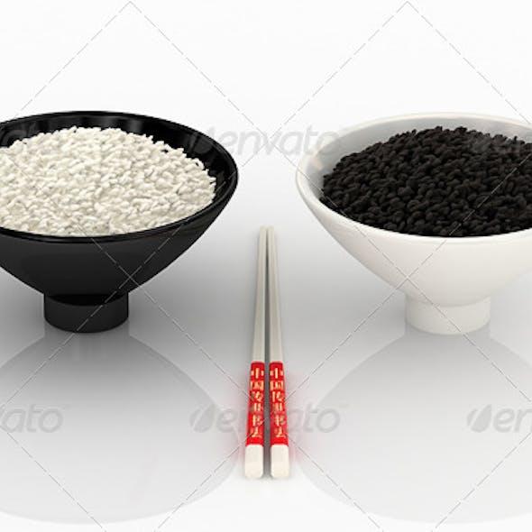 White and Black Rice.