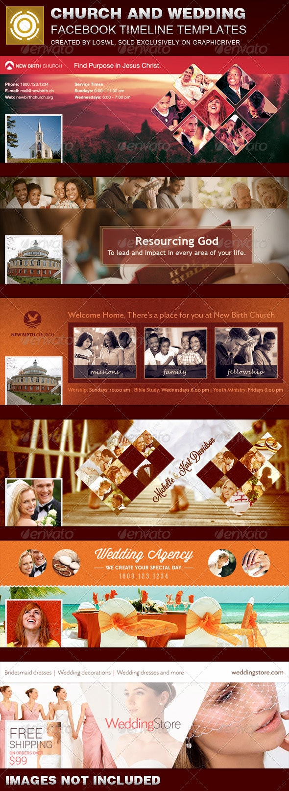 Bundle - Church and Wedding Facebook Timeline Templates - Facebook Timeline Covers Social Media