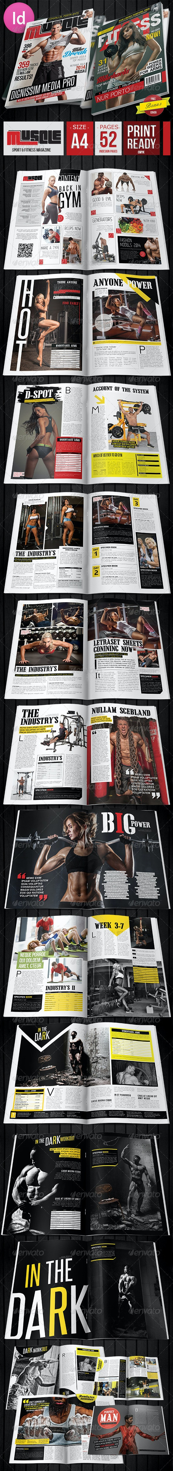 Muscle Fitness Magazine + 2 Covers - Magazines Print Templates