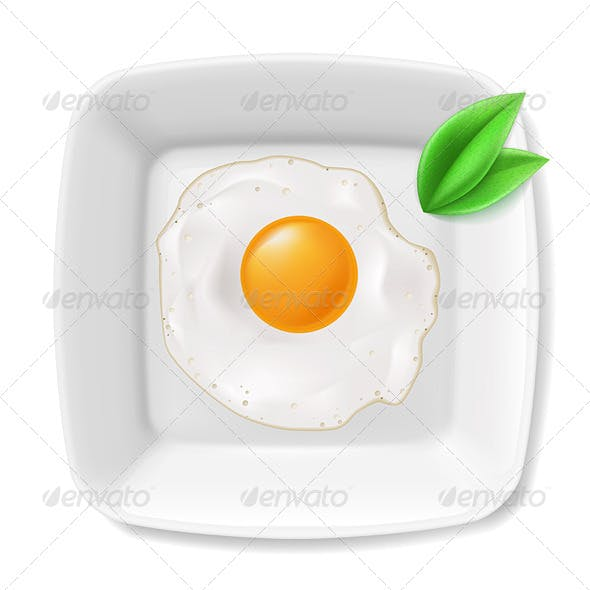 Fried Eggs Served on Plate