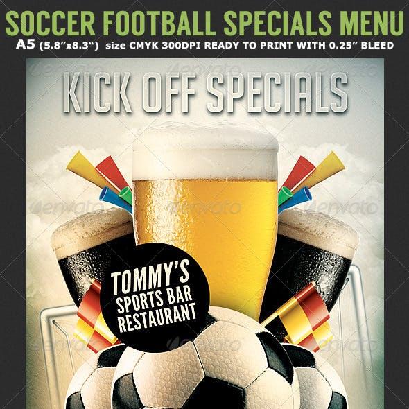 Soccer Football Bar Flyer Menu Template