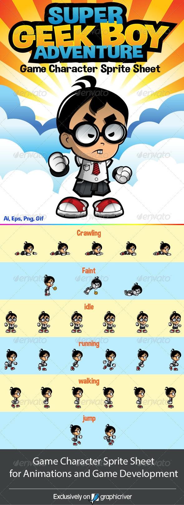 Side Scrolling Game Character: Geek Boy Adventure - Sprites Game Assets
