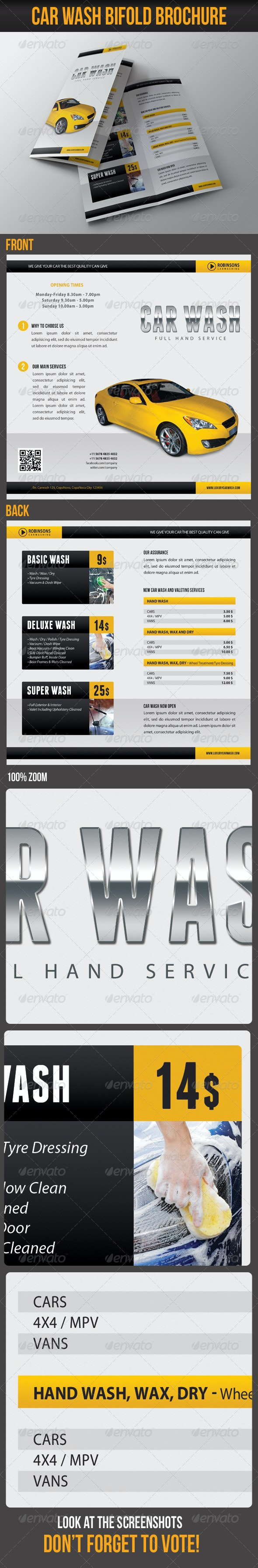 Car Wash Bifold Brochure 01 - Informational Brochures