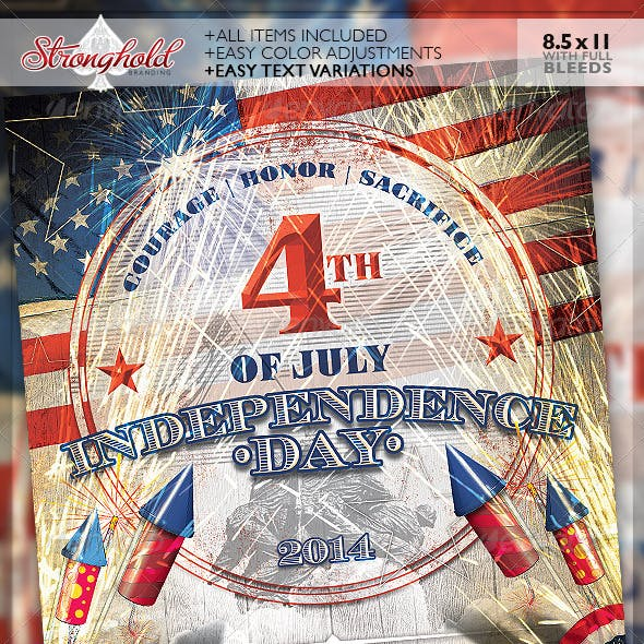 Vintage 4th of July Event Flyer Template