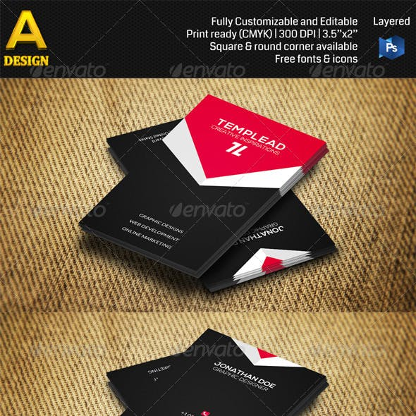 Red & Black Corporate Business Card AN0392