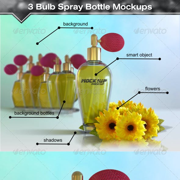 3 Antique Style Bulb Spray Bottle Mockups