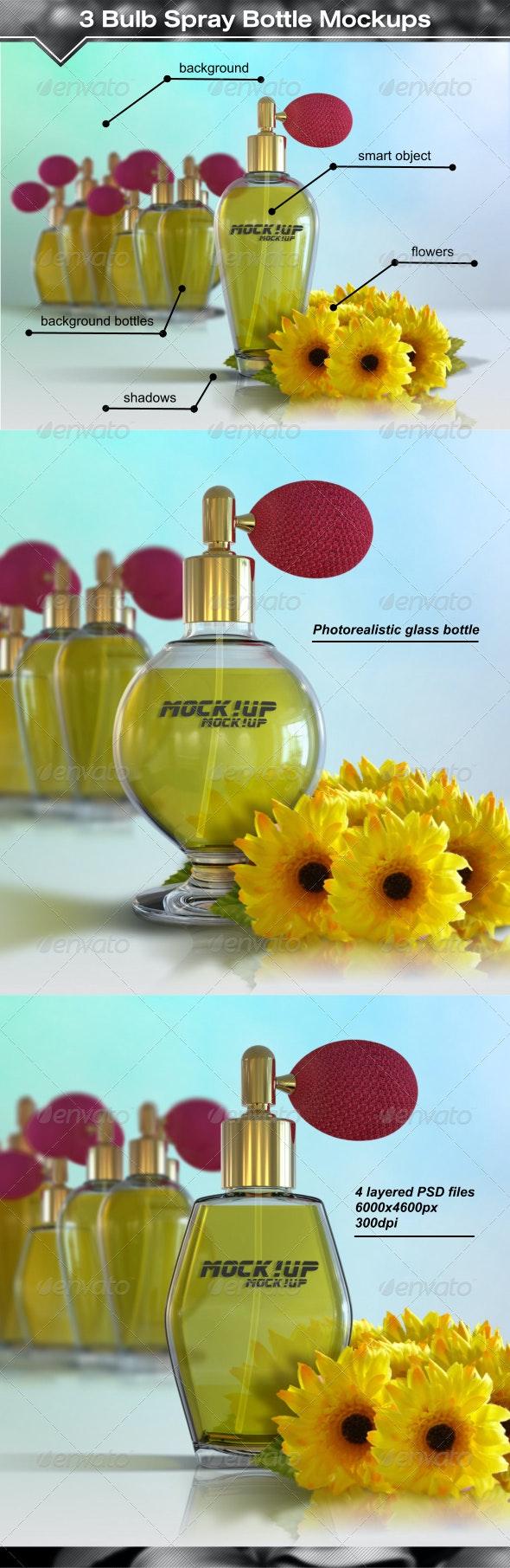 3 Antique Style Bulb Spray Bottle Mockups - Beauty Packaging