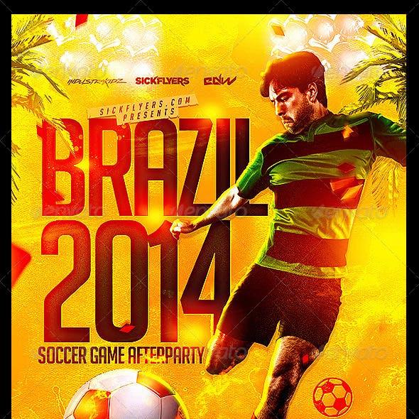 Brazil Soccer Cup Flyer Template PSD