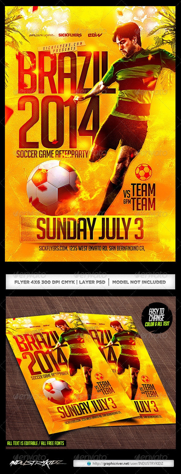 Brazil Soccer Cup Flyer Template PSD - Sports Events