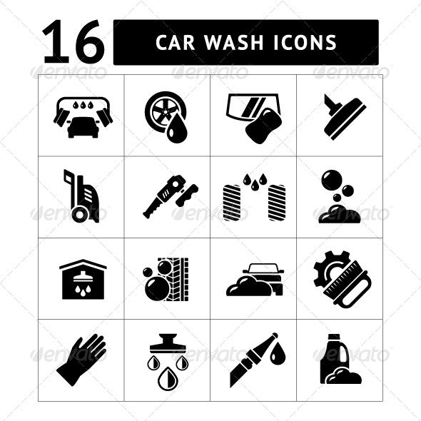 Set Icons of Car Wash - Technology Icons
