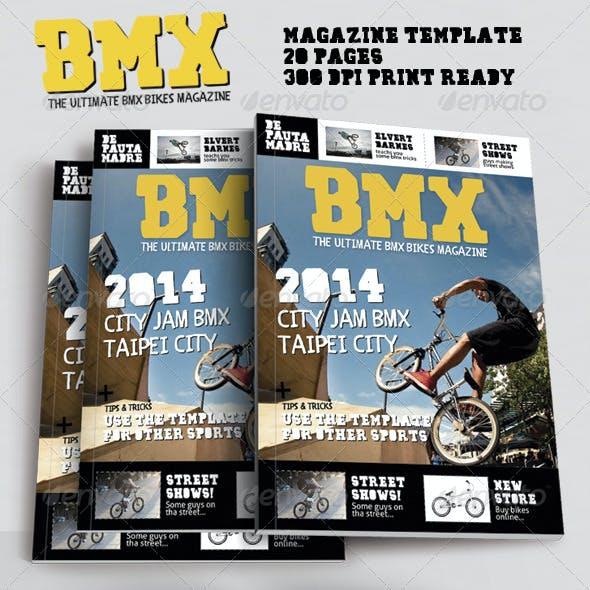 Bmx Bikes Sports Magazine Template for Print