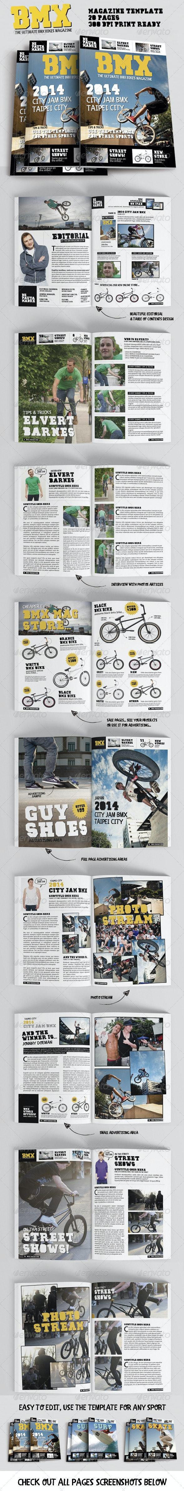Bmx Bikes Sports Magazine Template for Print - Magazines Print Templates