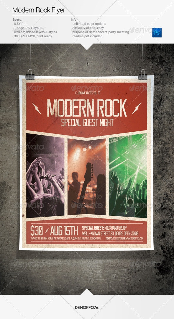 Modern Rock Party Flyer - Events Flyers