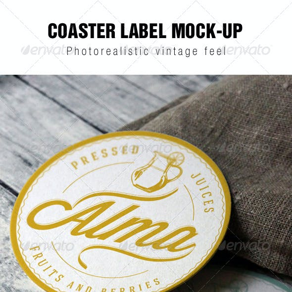 Coaster Round Label Mockup