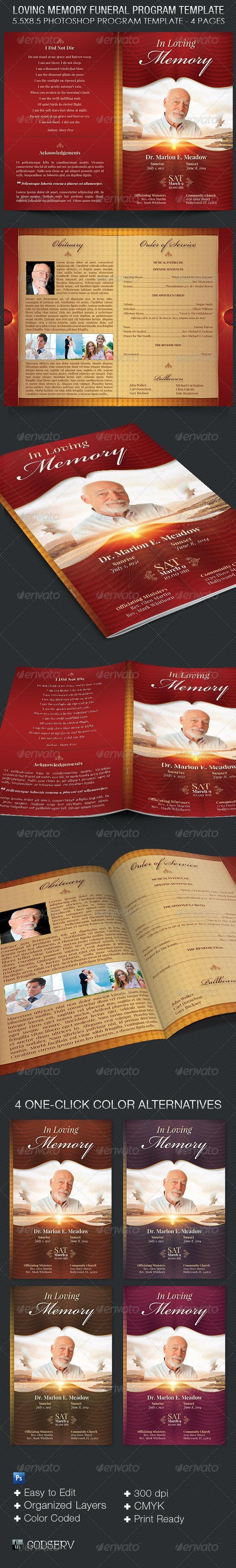 Loving Memory Funeral Program Template - Informational Brochures