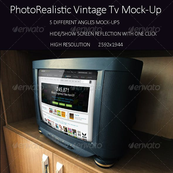 PhotoRealistic Vintage Tv Mock Up