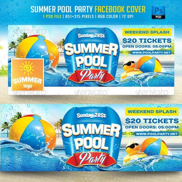Summer Pool Party Facebook Cover