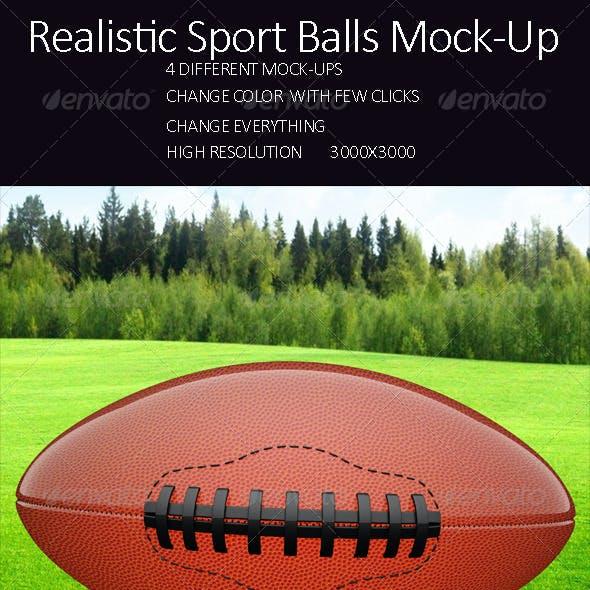 Realistic Sport Balls Mock Up