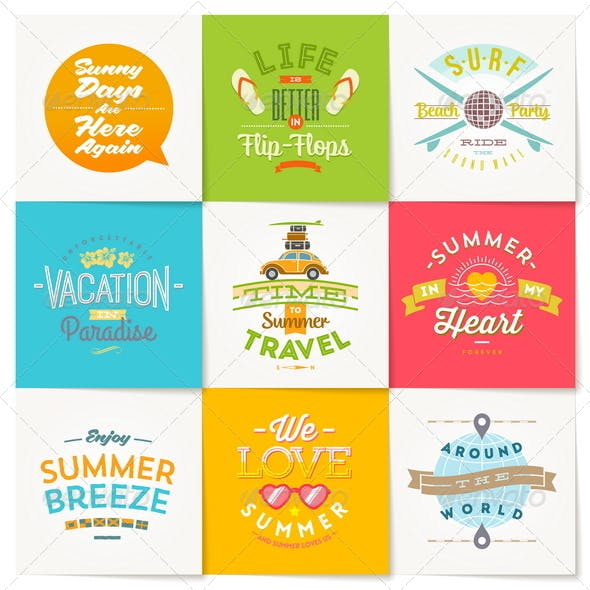 Set of Travel and Summer Vacation Type Design