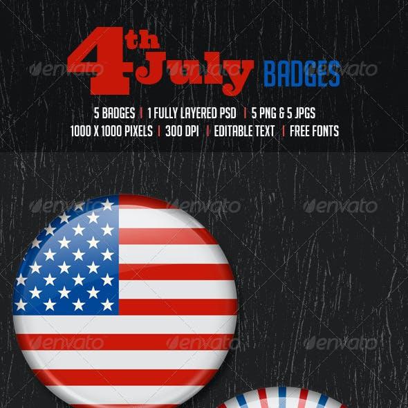 July 4th Badges