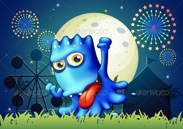Park with a Boastful Blue Monster  - Monsters Characters