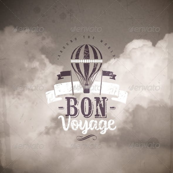 Vintage Type Design with Air Balloon and Clouds