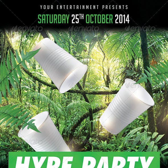 Hype Jungle Green Cups Hip Hop Party PSD Flyer Template