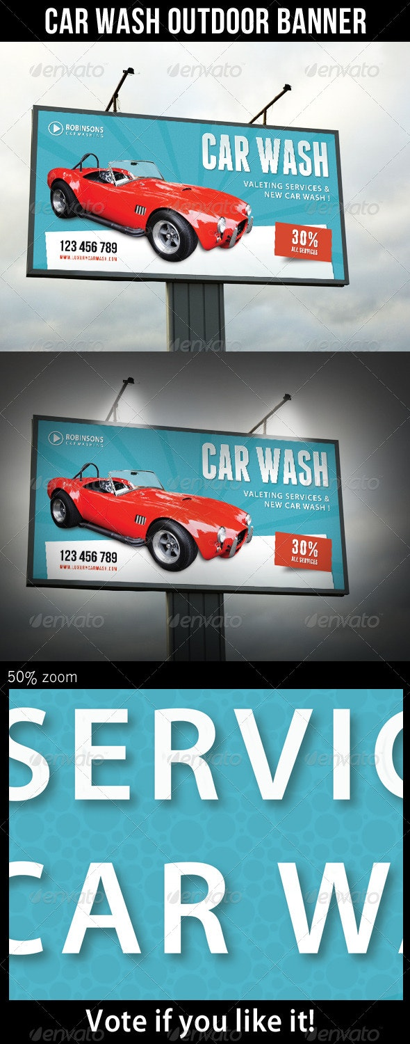 Car Wash Outdoor Banner 03 - Signage Print Templates