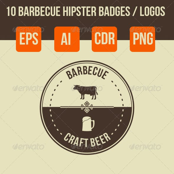 10 Barbecue Hipster Emblems