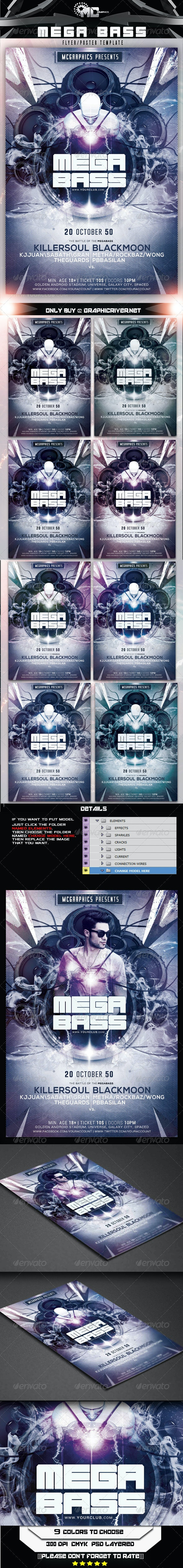 Mega Bass Flyer/Poster Template - Clubs & Parties Events