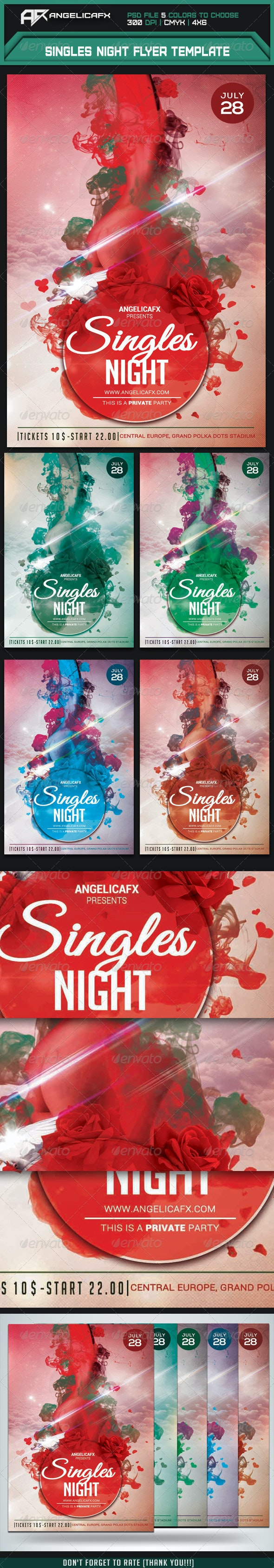 Singles Night Flyer Template - Flyers Print Templates