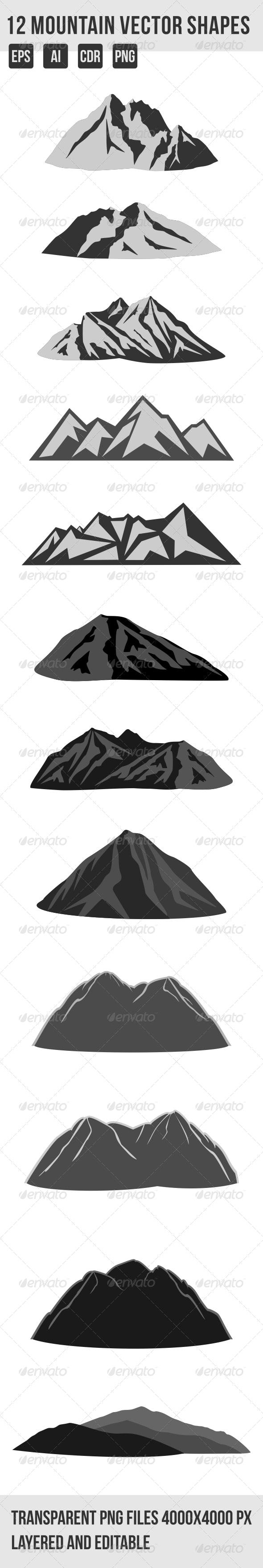 12 Mountain Shapes - Landscapes Nature