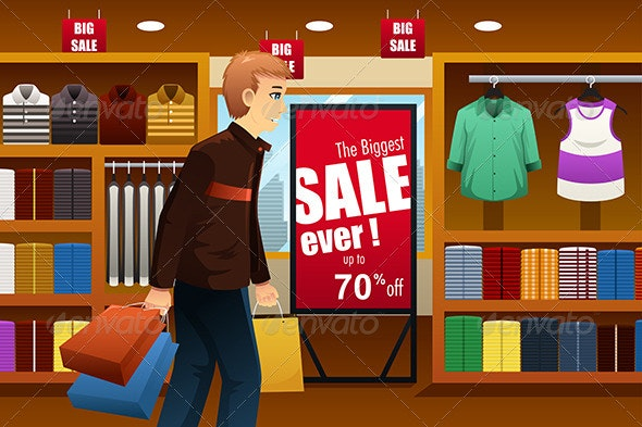 Man Shopping at Shopping Mall - Commercial / Shopping Conceptual