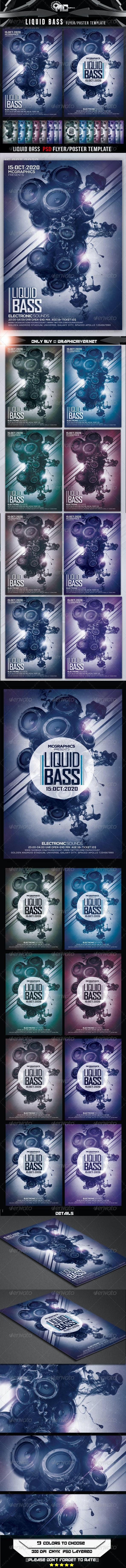 Liquid Bass Flyer Template - Print Templates
