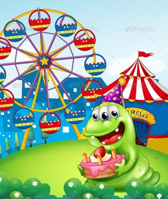Monster Celebrating Birthday at Carnival - Monsters Characters