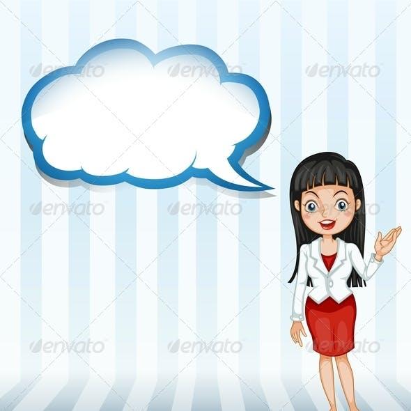 Woman Talking Empty Cloud Template
