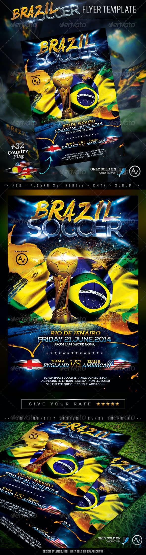 Brazil Soccer Flyer Template - Sports Events
