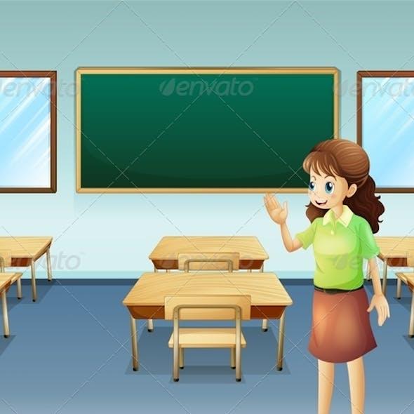 Teacher In Empty Classroom