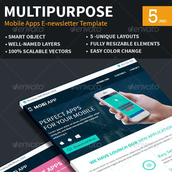 Mobile Apps Multipurpose E-newsletter Template