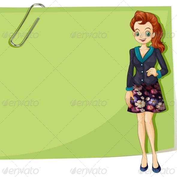 Young Businesswoman with Empty Note